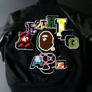 Vintage Bape Football Leather Wool Varsity Jack